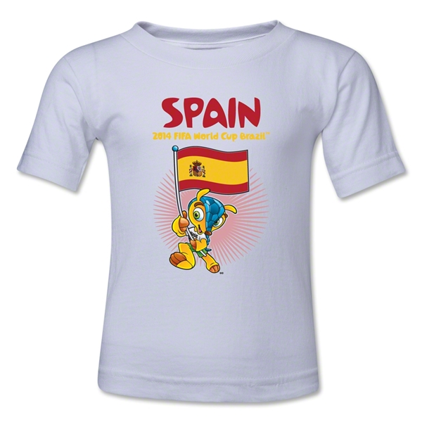 Spain 2014 FIFA World Cup Brazil(TM) Toddler Mascot Flag T-Shirt (White)