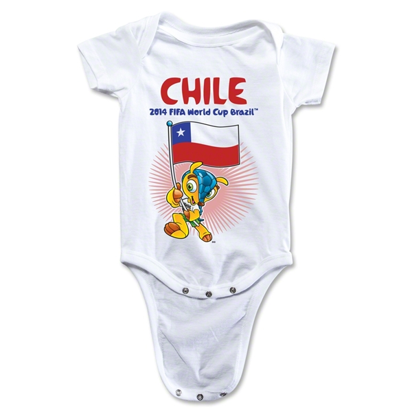Chile 2014 FIFA World Cup Brazil(TM) Mascot Flag Onesie (White)