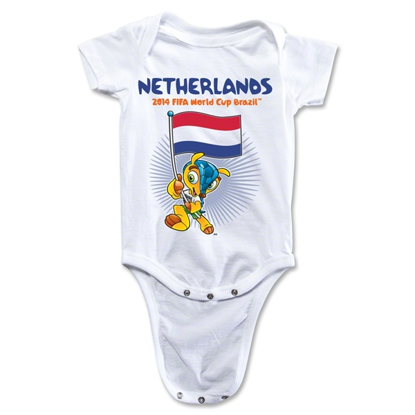 Netherlands 2014 FIFA World Cup Brazil(TM) Mascot Flag Onesie (White)