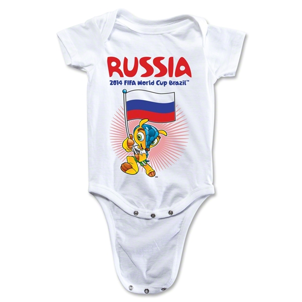 Russia 2014 FIFA World Cup Brazil(TM) Mascot Flag Onesie (White)