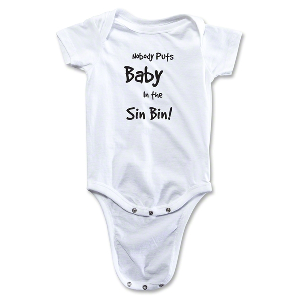 Nobody Puts Baby In the Sin Bin Baby Onesie (White)