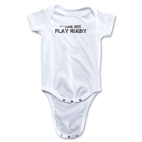 Cool Kids Play Rugby Baby Onesie (White)
