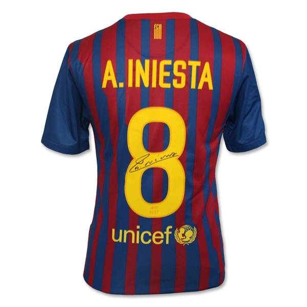 ICONS Andres Iniesta Back Signed Barcelona Soccer Jersey
