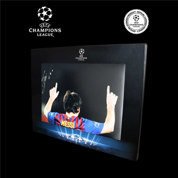 Icons Official UEFA Champions League Leo Messi Signed 1 Game, 5 Goals Photo