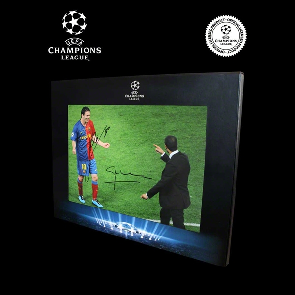 ICONS Official UEFA Champions League Messi & Guardiola Signed Photo