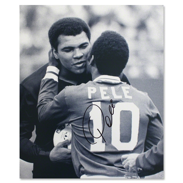 Icons Pele Signed Embracing Muhammad Ali Photo