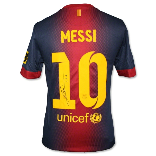 ICONS Signed Back Messi Barcelona 12/13 Home Soccer Jersey