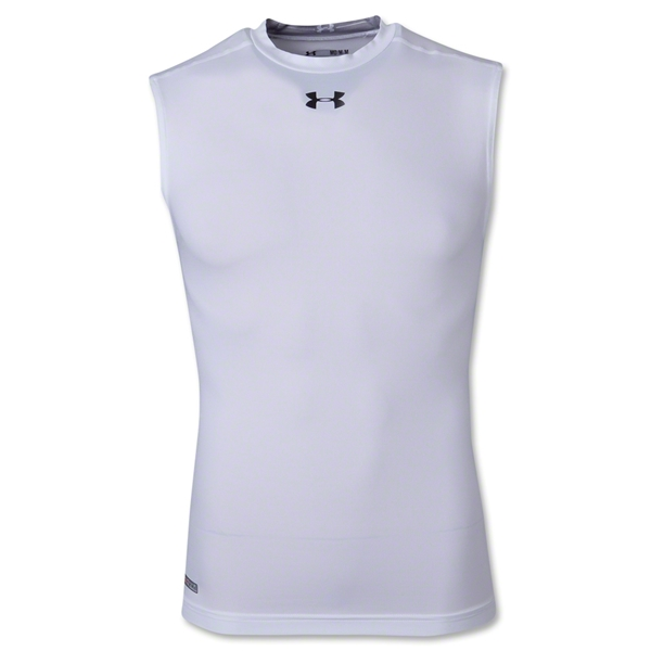 UA Heatgear Sonic Compression Sleeveless T-Shirt (White)