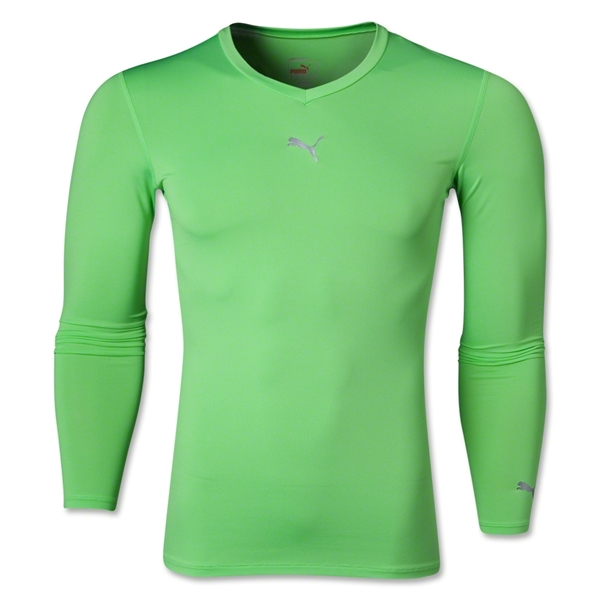 PUMA Lite LS V-Neck T-Shirt (Neon Green)