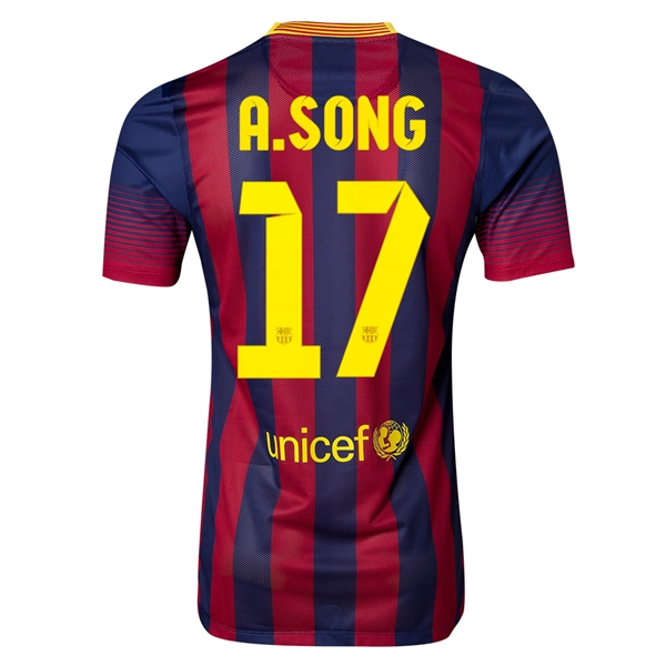 Barcelona 13/14 A. SONG Authentic Home Soccer Jersey