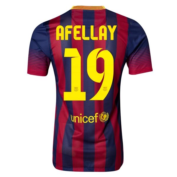 Barcelona 13/14 AFELLAY Authentic Home Soccer Jersey