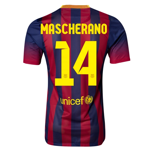 Barcelona 13/14 MASCHERANO Authentic Home Soccer Jersey