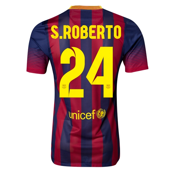 Barcelona 13/14 S. ROBERTO Authentic Home Soccer Jersey
