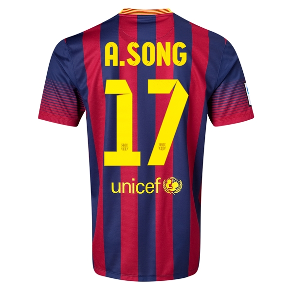 Barcelona 13/14 A. SONG Home Soccer Jersey