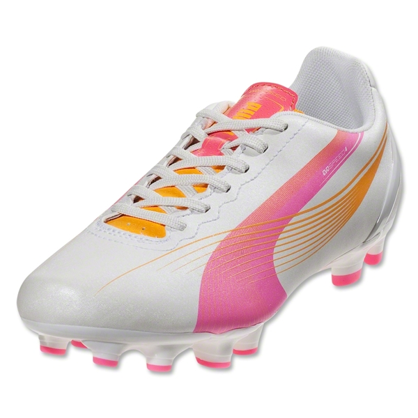 PUMA Women's evoSPEED 4 FG (Metallic White/Fluo Pink/Fluo Orange)