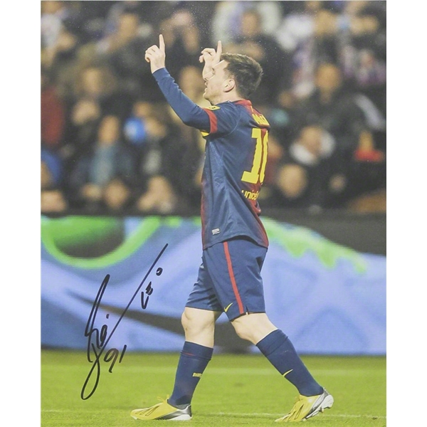 ICONS Leo Messi Signed Photo Record Breaking 91st Goal