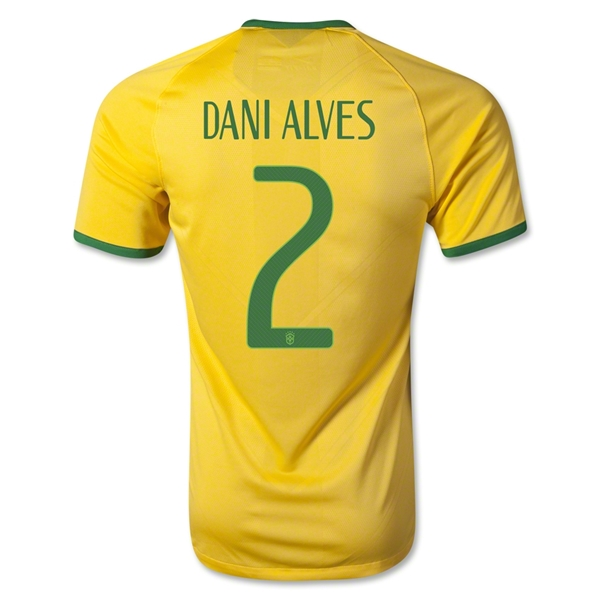Brazil 2014 DANI ALVES Authentic Home Soccer Jersey