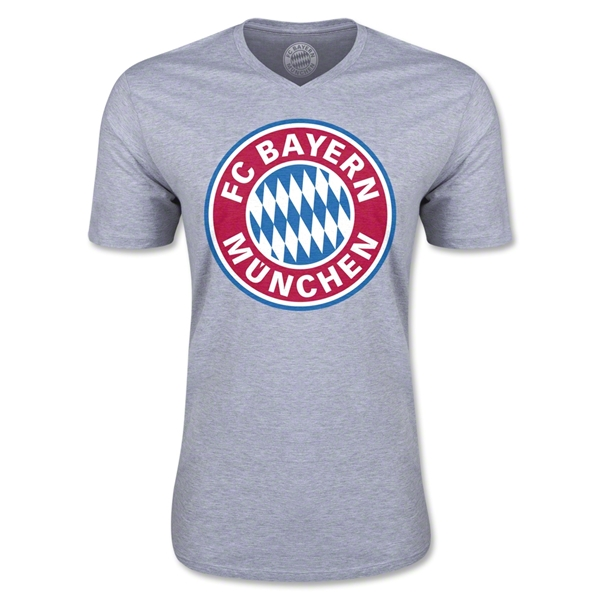Bayern Munich Logo V-Neck T-Shirt (Gray)