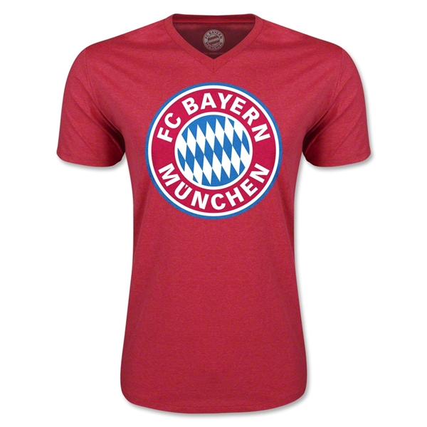 Bayern Munich Logo V-Neck T-Shirt (Heather Red)