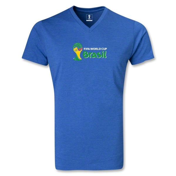 2014 FIFA World Cup Brazil(TM) Landscape Emblem V-Neck T-Shirt (Heather Blue)