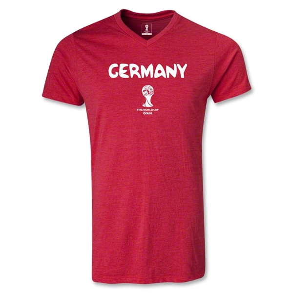 Germany 2014 FIFA World Cup Brazil(TM) Men's Core V-Neck T-Shirt (Heather Red)