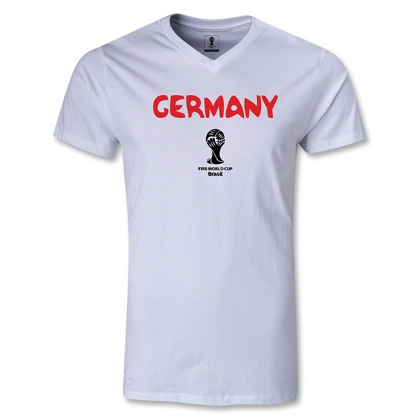Germany 2014 FIFA World Cup Brazil(TM) Men's Core V-Neck T-Shirt (White)