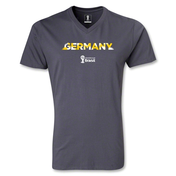 Germany 2014 FIFA World Cup Brazil(TM) Men's Palm V-Neck T-Shirt (Dark Grey)