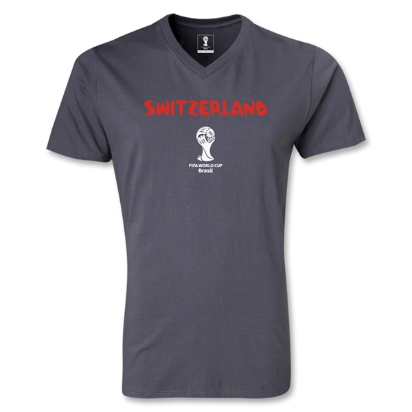 Switzerland 2014 FIFA World Cup Brazil(TM) Men's Core V-Neck T-Shirt (Dark Grey)
