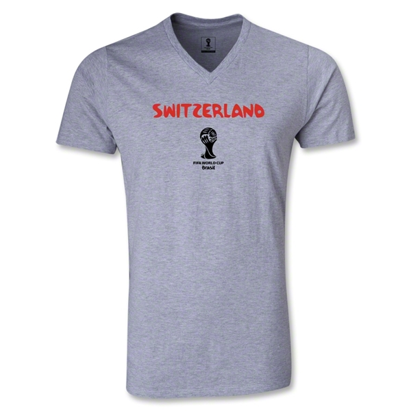 Switzerland 2014 FIFA World Cup Brazil(TM) Men's Core V-Neck T-Shirt (Grey)