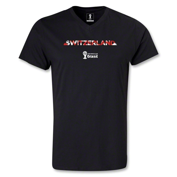 Switzerland 2014 FIFA World Cup Brazil(TM) Men's Palm V-Neck T-Shirt (Black)