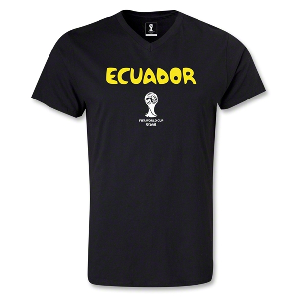 Ecuador 2014 FIFA World Cup Brazil(TM) Men's Core V-Neck T-Shirt (Black)