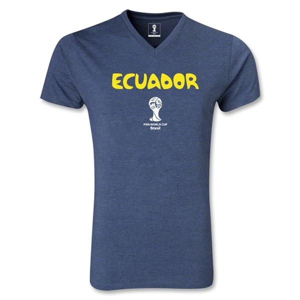 Ecuador 2014 FIFA World Cup Brazil(TM) Men's Core V-Neck T-Shirt (Heather Navy)