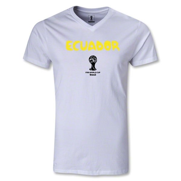 Ecuador 2014 FIFA World Cup Brazil(TM) Men's Core V-Neck T-Shirt (White)