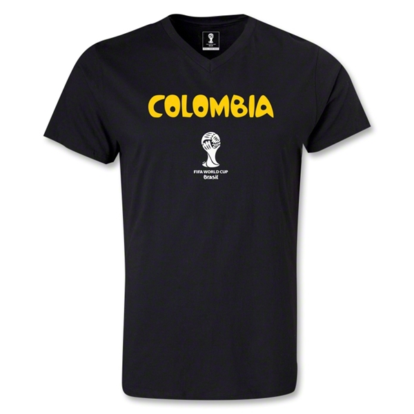 Colombia 2014 FIFA World Cup Brazil(TM) Men's Core V-Neck T-Shirt (Black)