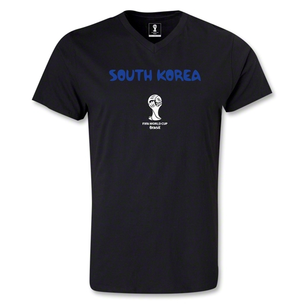 South Korea 2014 FIFA World Cup Brazil Men's Core V-Neck T-Shirt (Black)