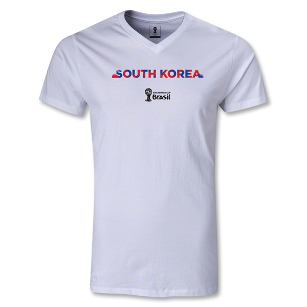 South Korea 2014 FIFA World Cup Brazil Men's Palm V-Neck T-Shirt (White)