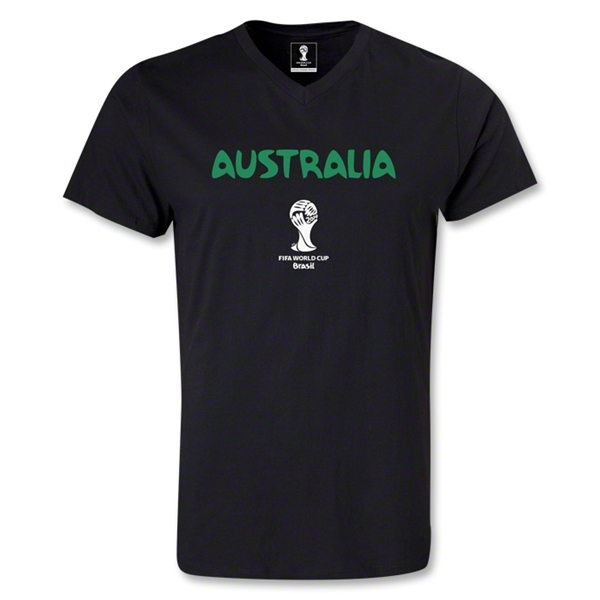 Australia 2014 FIFA World Cup Brazil Men's Core V-Neck T-Shirt (Black)