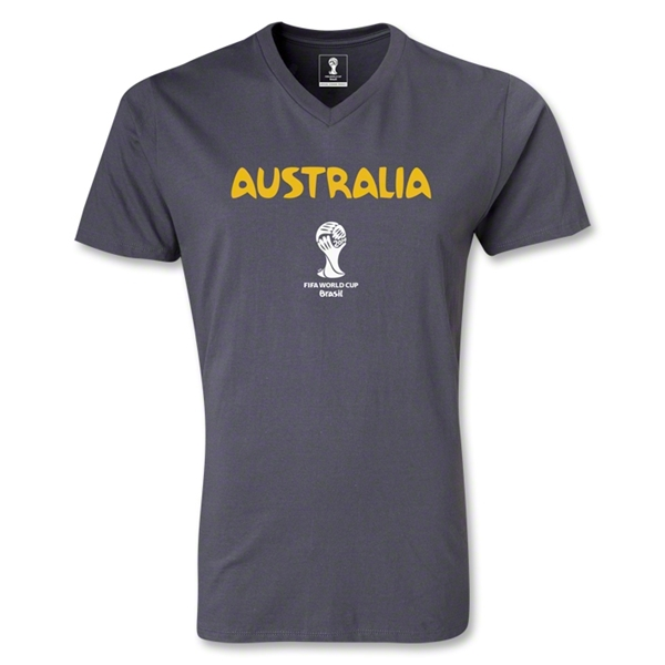 Australia 2014 FIFA World Cup Brazil Men's Core V-Neck T-Shirt (Dark Gray)