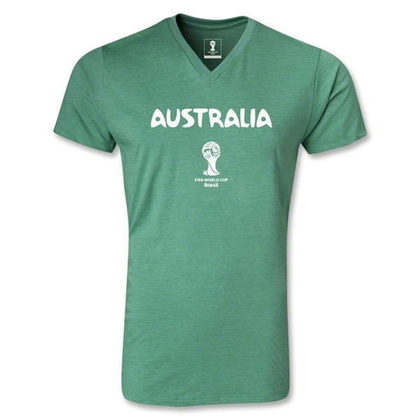Australia 2014 FIFA World Cup Brazil Men's Core V-Neck T-Shirt (Heather Green)
