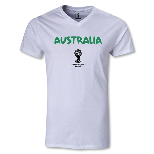 Australia 2014 FIFA World Cup Brazil Men's Core V-Neck T-Shirt (White)