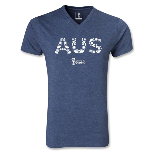 Australia 2014 FIFA World Cup Brazil Men's Elements V-Neck T-Shirt (Heather Navy)