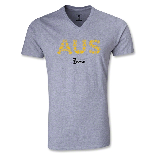 Australia 2014 FIFA World Cup Brazil Men's Elements V-Neck T-Shirt (Gray)