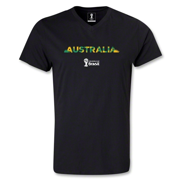 Australia 2014 FIFA World Cup Brazil Men's Palm V-Neck T-Shirt (Black)