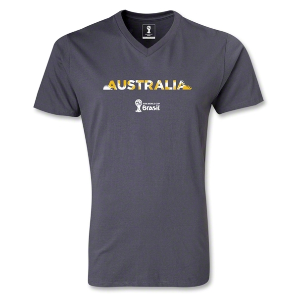 Australia 2014 FIFA World Cup Brazil Men's Palm V-Neck T-Shirt (Dark Gray)