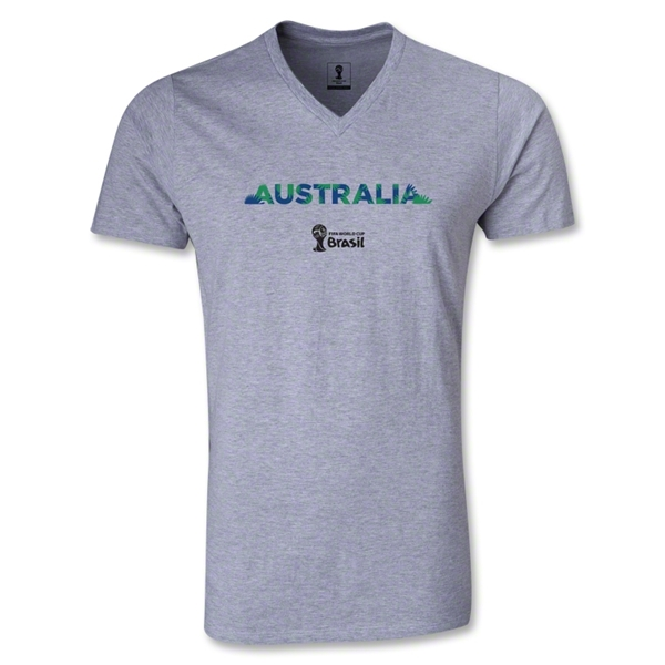 Australia 2014 FIFA World Cup Brazil Men's Palm V-Neck T-Shirt (Gray)