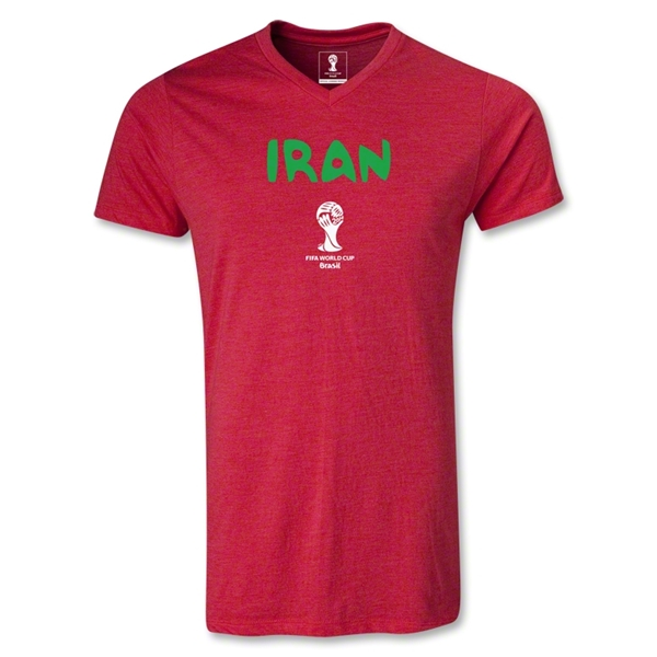 Iran 2014 FIFA World Cup Brazil Men's Core V-Neck T-Shirt (Heather Red)
