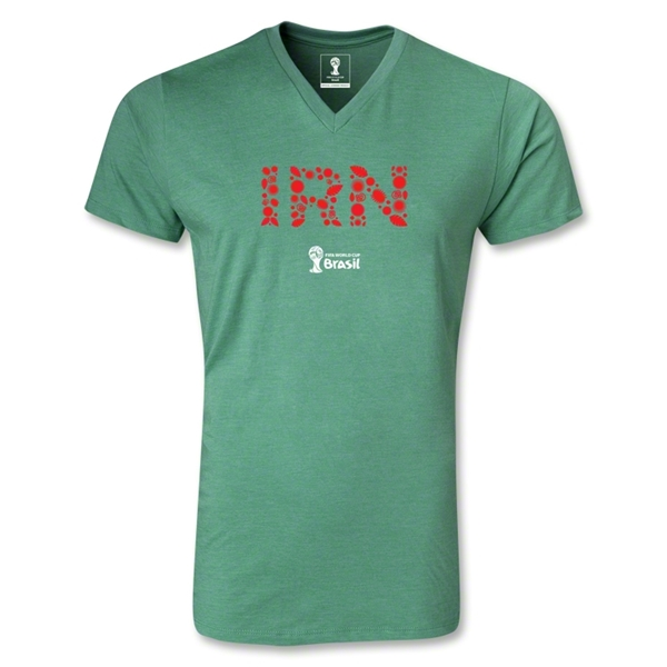 Iran 2014 FIFA World Cup Brazil Men's Elements V-Neck T-Shirt (Heather Green)