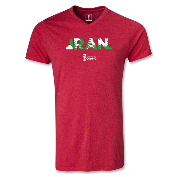 Iran 2014 FIFA World Cup Brazil Men's Palm V-Neck T-Shirt (Heather Red)