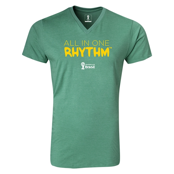 2014 FIFA World Cup Brazil(TM) All In One Rhythm V-Neck T-Shirt (Heather Green)