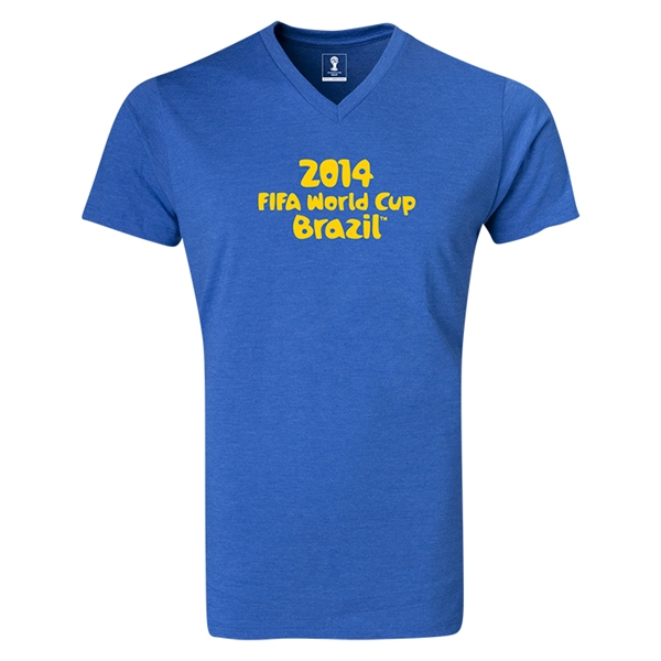 2014 FIFA World Cup Brazil(TM) Logotype V-Neck T-Shirt (Heather Royal)